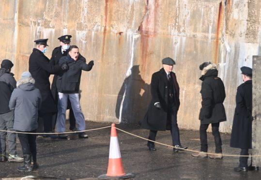 Cillian Murphy filming Peaky Blinders in Portsoy