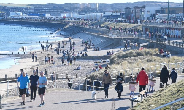 Hundreds at Aberdeen beach on Saturday afternoon