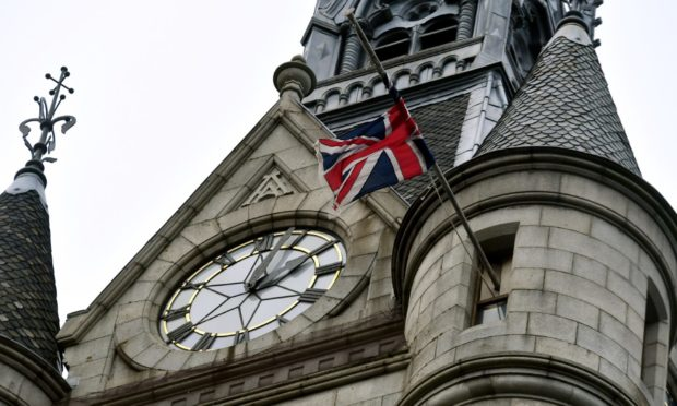 The Union flag at Aberdeen's Town House