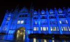 Marischal college was lit up blue for Captain Sir Tom.