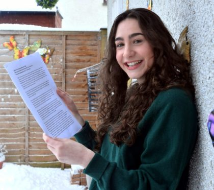 """Pictured is Rhona Bowie from Banchory with her letter """"2020: The unprecedented year. How we survived it and how we can carry on - from the perspective of a 17-year-old"""""""