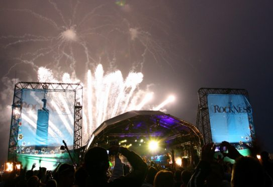 Firework launched into the sky at the RockNess music festival 2007.