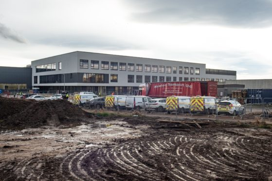 Construction underway at Lossiemouth High School in November 2020.