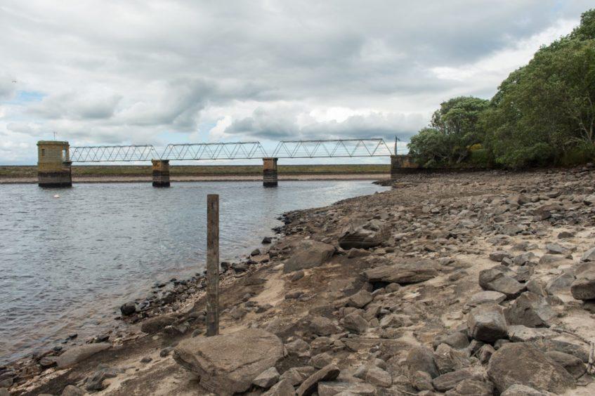 Low water levels at the Glenlatterach reservoir near Elgin in June 2018.
