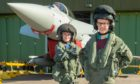 Abigail Campbell from Cullen Primary and David Wallace from Dallas Primary at RAF Lossiemouth for a STEM workshop in 2019.