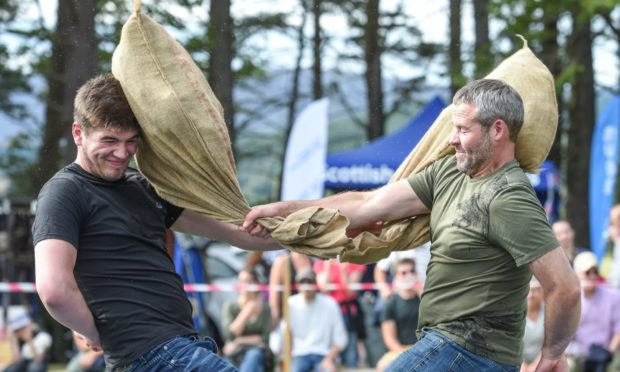 The pillow fight is one of the highlights of the Tomintoul Highland Games.