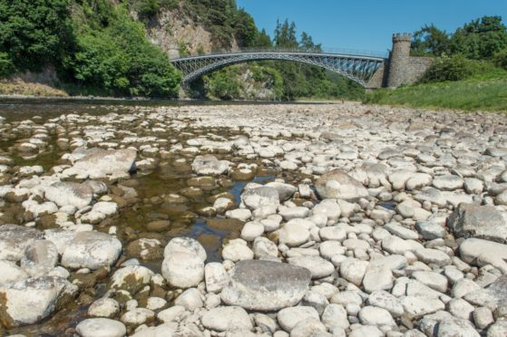 Low water levels on the River Spey near Craigellachie in June 2018.