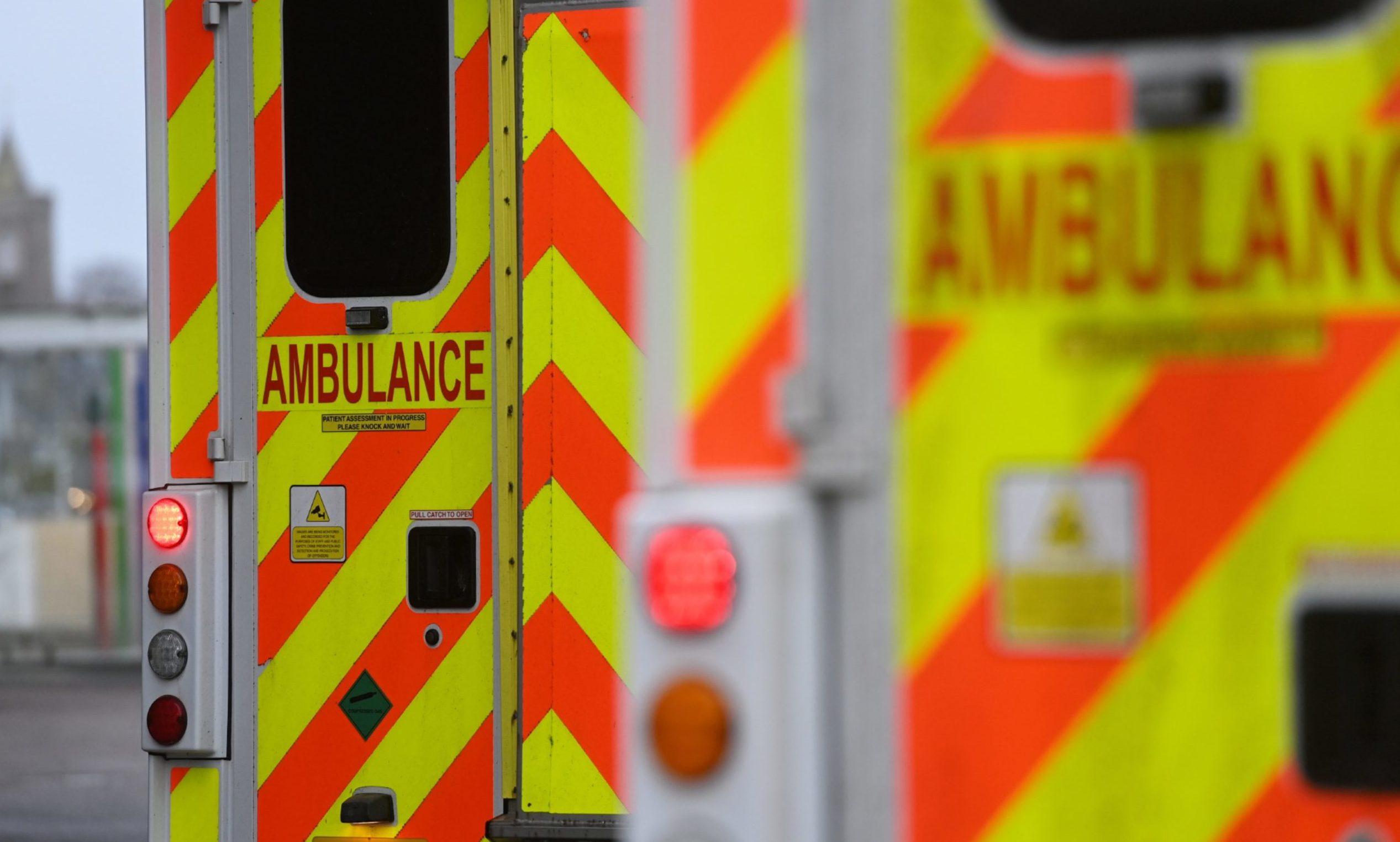 Ambulances queued up at Aberdeen Royal Infirmary.