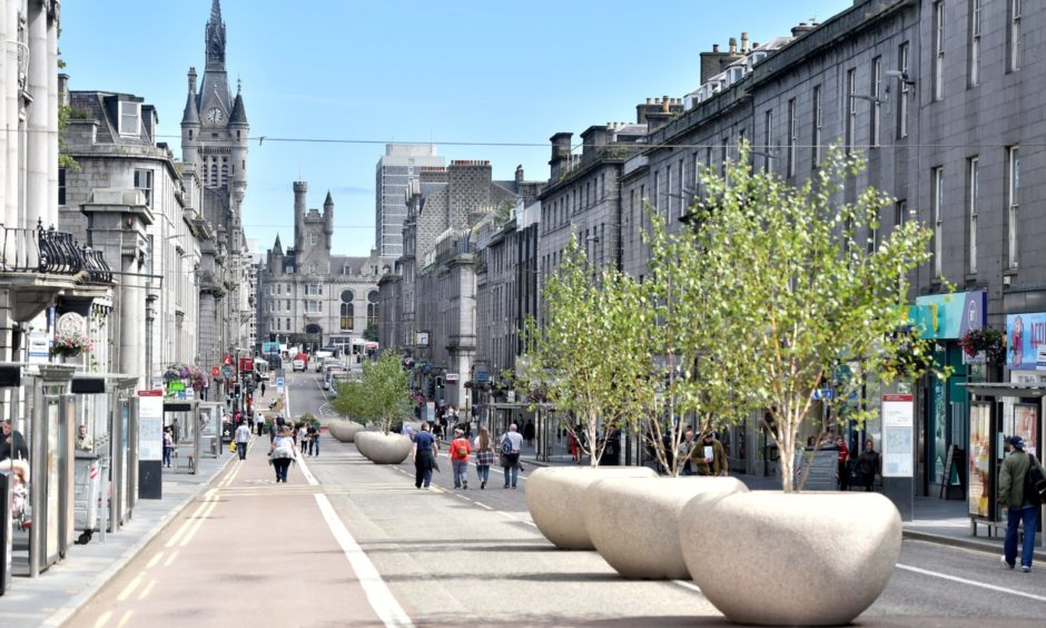 Union Street, Aberdeen, has been altered to allow better physical distancing during lockdown using government funding