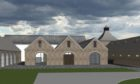 Drawing of proposed small craft scotch whisky distillery with visitors centre.