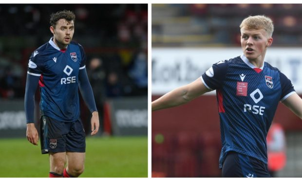 Ross County defenders Connor Randall (left) and Tom Grivosti have been ruled out for the rest of the season.