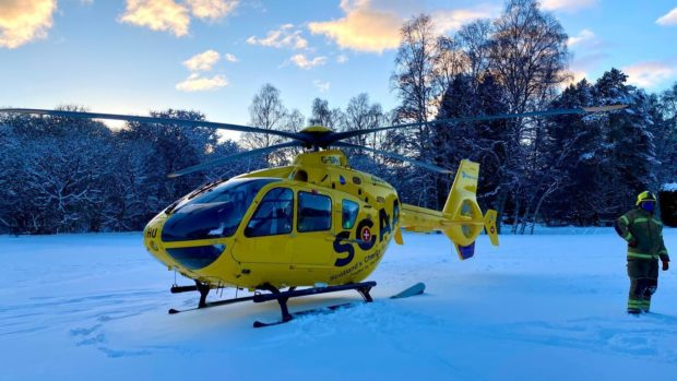 Scotland's Charity Air Ambulance on Banchory golf course. Picture from SCAA