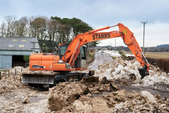 Starrs Construction work to clear the A98 Banff road near Buckie.