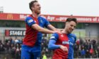 Brad Mckay (right), is congratulated by Jordan White after scoring the winner against Ayr in April 2019.