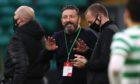 Former Aberdeen manager Derek McInnes (centre) on the touchline during the Scottish Premiership match at Celtic Park.