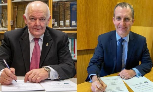 From left: Councillor Robin Currie, Leader of Argyll and Bute Council; Cabinet Secretary for Transport, Infrastructure and Connectivity Michael Matheson MSP