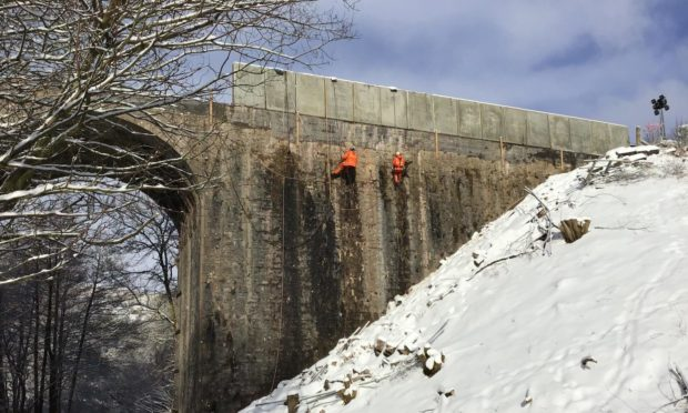 The new wall to replace the collapsed parapet on the bridge between Montrose and Stonehaven. Picture from Network Rail