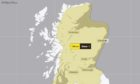 To go with story by Craig Munro. A yellow weather warning for snow has been issued for this weekend, covering most of Scotland. Picture shows; A Met Office yellow weather warning. Met Office website. Supplied by Met Office Date; 02/02/2021