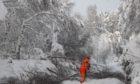 Winter tracks blocked in snow in Kyle of Lochalsh.