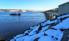 Maintenance work is being carried out on the Cromarty Bridge.