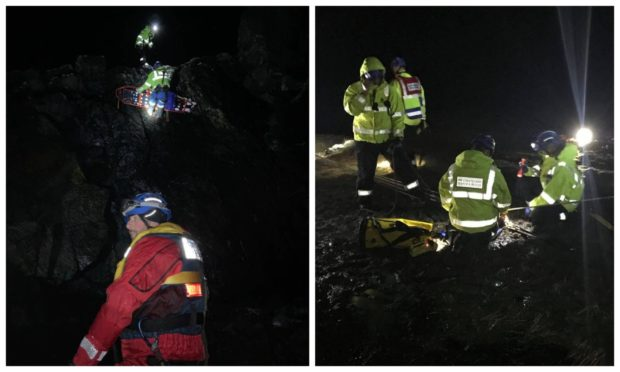 Crews were called out to rescue a woman from a cliff edge near Bragar, Lewis, on February 16, 2021.
