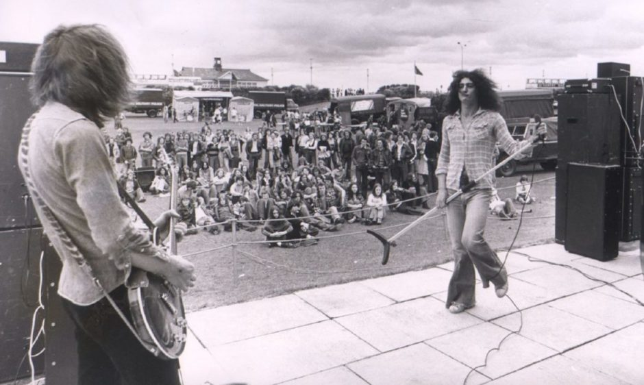 More than 300 denim-clad fans turned up at theQueens Links for an open-air concert byAberdeen-based group Pryer in 1977.