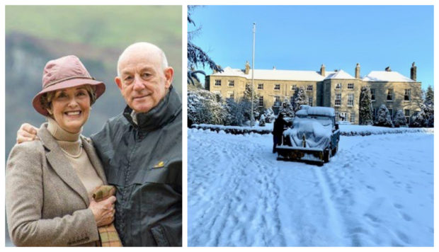 Linda and Andrew Meiklejohn of the Castle Hotel north of Huntly, who put up 28 travellers who became stranded by snow