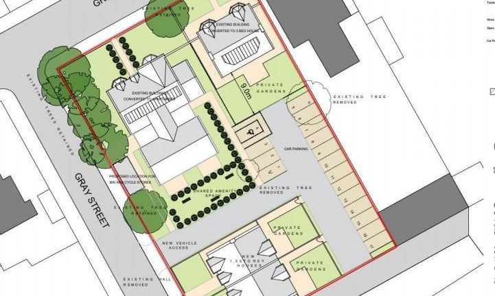 Nine flats and three houses are proposed for the site.