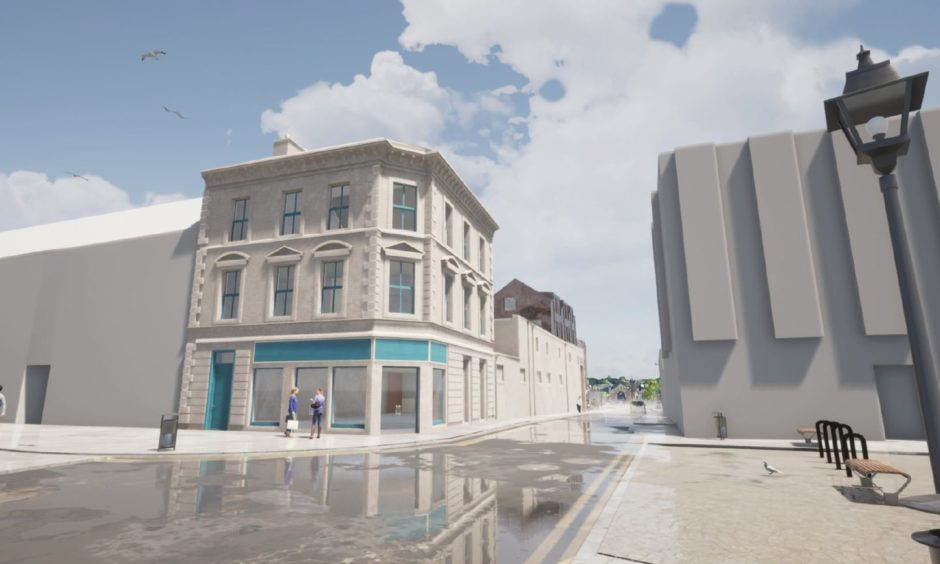 An artist impression of the rebuilt building looking from the High Street.