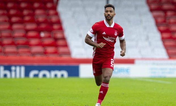 x ABERDEEN, SCOTLAND - SEPTEMBER 12: Aberdeen's Shay Logan in action during the Scottish Premiership match between Aberdeen and Kilmarnock at Pittodrie on September 12, 2020, in Aberdeen, Scotland. (Photo by Ross MacDonald / SNS Group)