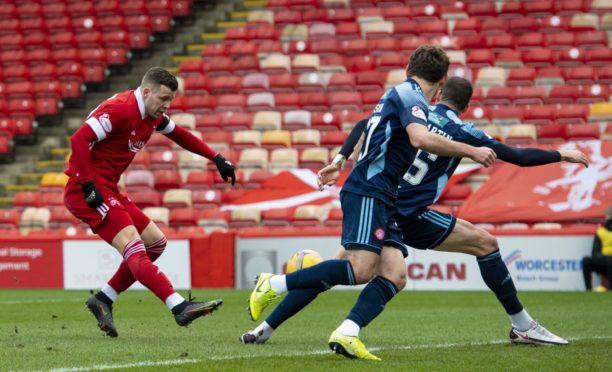 Florian Kamberi fires in a shot for Aberdeen.
