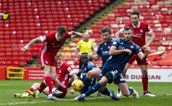 Aberdeen striker Callum Hendry misses a chance against Hamilton.