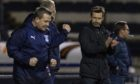 Interim Inverness coaching staff Billy Dodds (L) and Neil McCann celebrate at full-time after last night's win over Raith Rovers.
