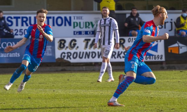 Inverness' David Carson celebrates making it 1-0 against Dunfermline.