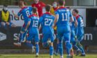 Inverness' David Carson celebreates making it 1-0 during the Scottish Championship match against Dunfermline.