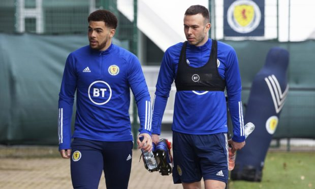Andy Considine, right, with new Scotland team-mate Che Adams.