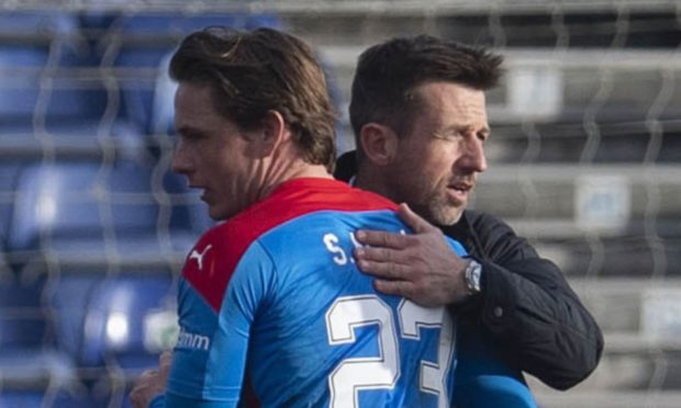 Inverness interim manager Neil McCann and new signing Scott Allan.