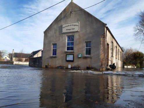 Flooding in Garmouth village and Garmouth golf course.