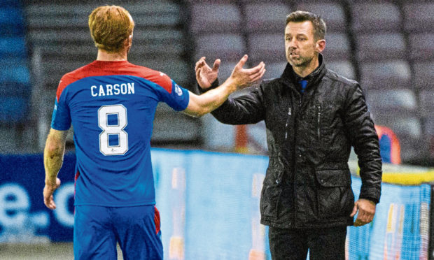 Inverness interim manager Neil McCann with David Carson during the 1-1 draw with Hearts.