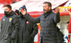 Aberdeen manager Derek McInnes during his final game in charge against Hamilton Academical.