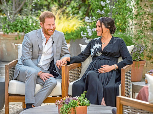 Prince Harry, left, and Meghan, Duchess of Sussex, speaking about expecting their second child during an interview with Oprah Winfrey.