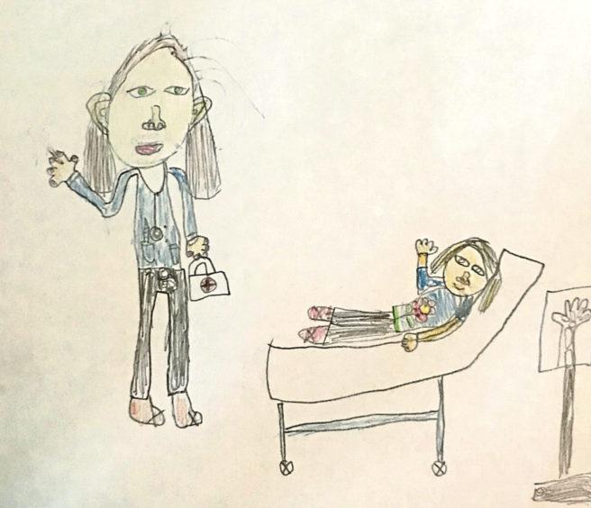 118 Lacey Scott Age: 7, Stuartfield Nurses help us all