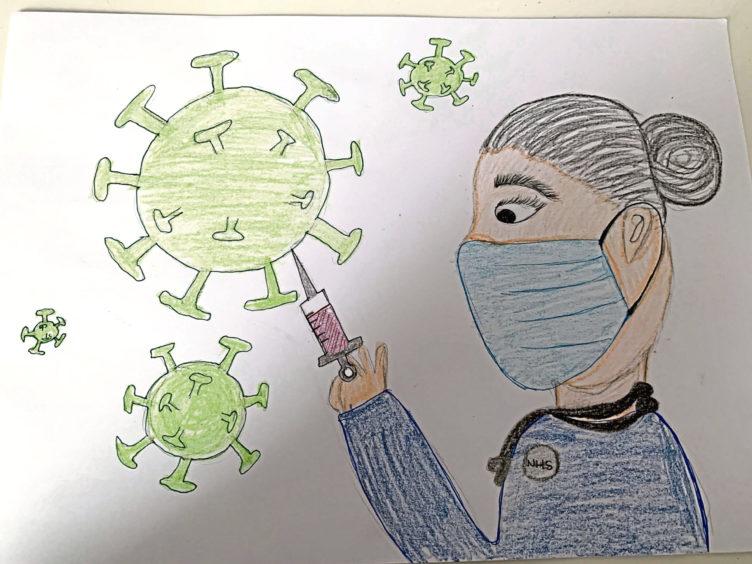 143 Hayley Yahathugoda Age: 13, Aberdeen A nurse putting the vaccine into the virus