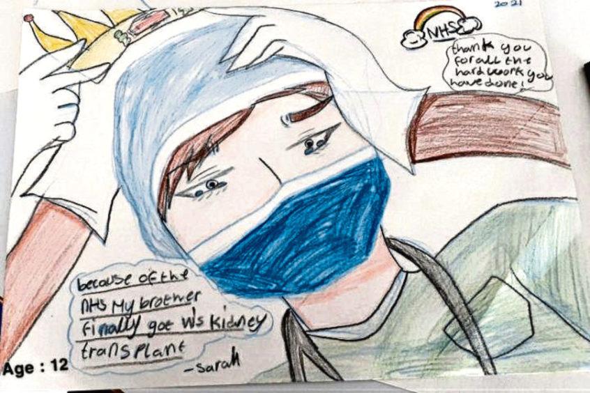 348 Sarah Melvin Age: 12, Elgin NHS has helped my brother get his kidney