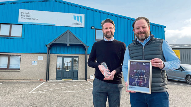 Northern Star business of the year winners Eddie Moore, group business development director; and Declan Slattery, chief financial officer, at Motive Offshore  Submitted by Aberdeen and Grampian Chamber of Commerce