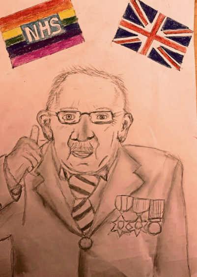 532 Isla Webster Age: 13, Aberdeen I drew Captain Tom Moore because of all he has done for everyone