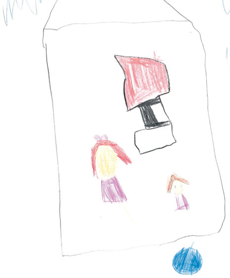 533 Kaiya Smith Age: 5, Aberdeen This is my mummy in the school and we are watching the TV