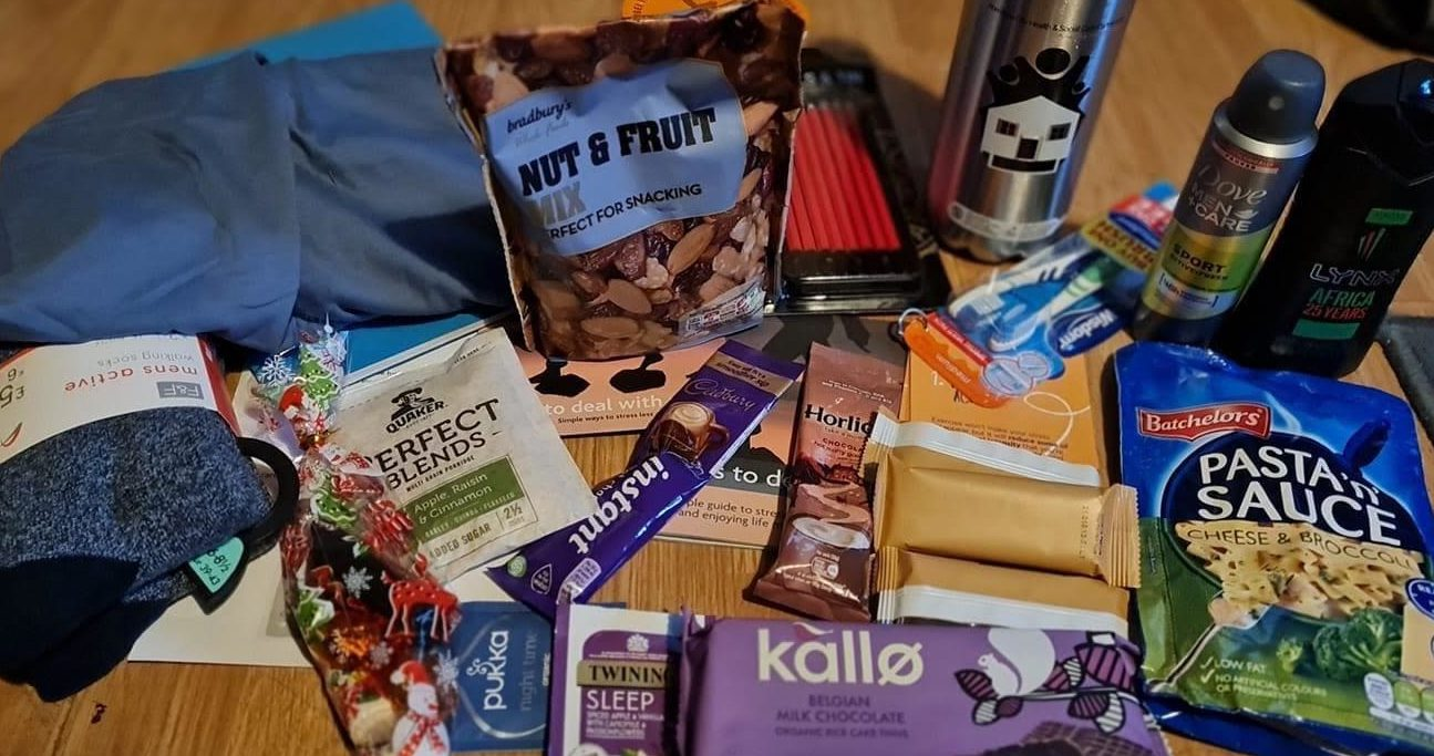 The contents of one of the mental health care packages distributed to teenagers in Aberdeen.