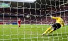 Adam Rooney scores the winning penalty for Aberdeen in the 2014 League Cup final.