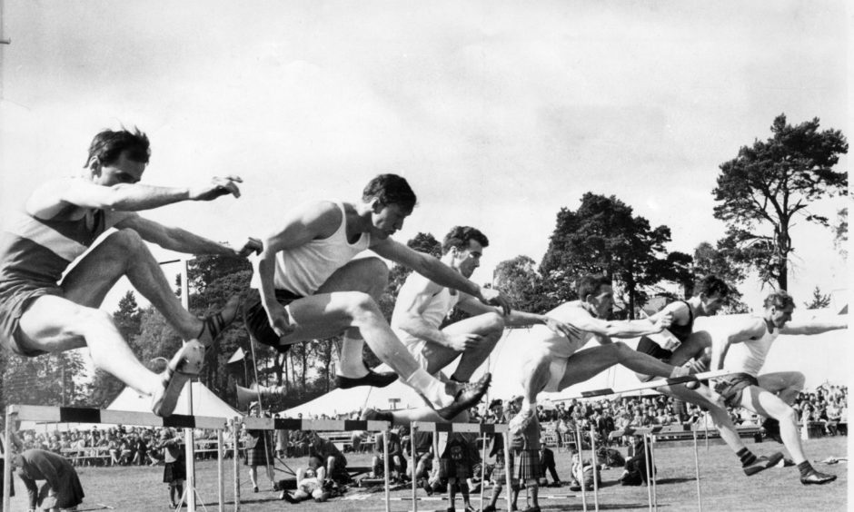 The hurdles at the Aboyne Games in 1966.